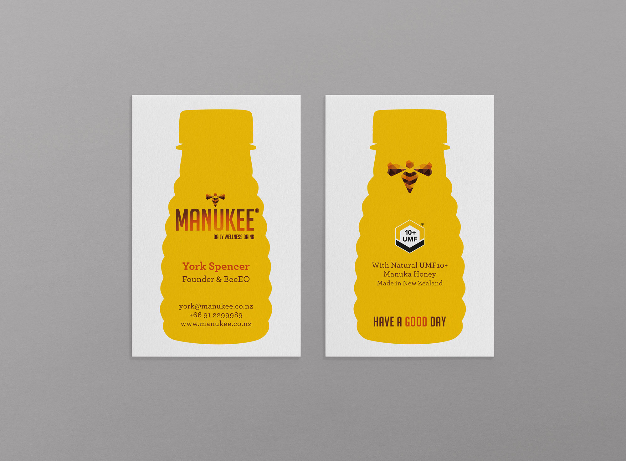 Manukee Honey Business Card Design