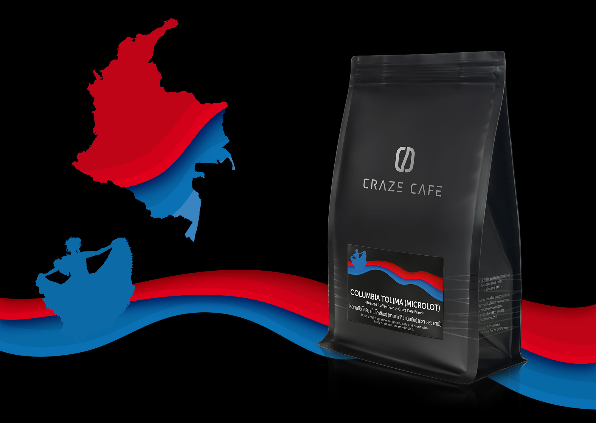 Craze Cafe Colombian Coffee Packaging