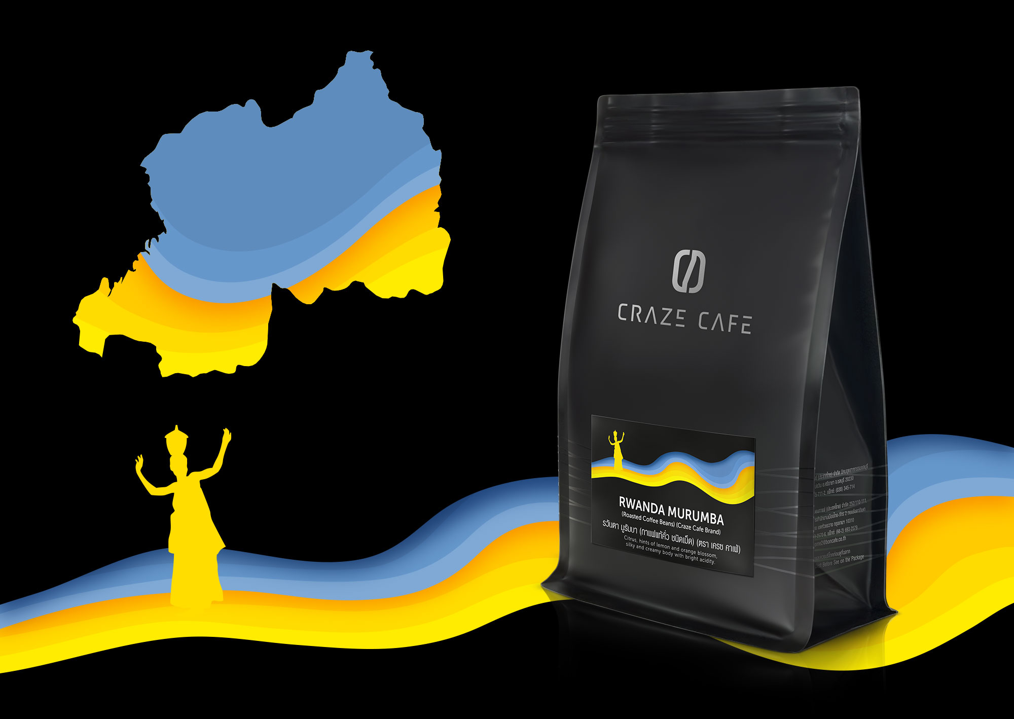 Craze Cafe Rwandan Coffee Packaging