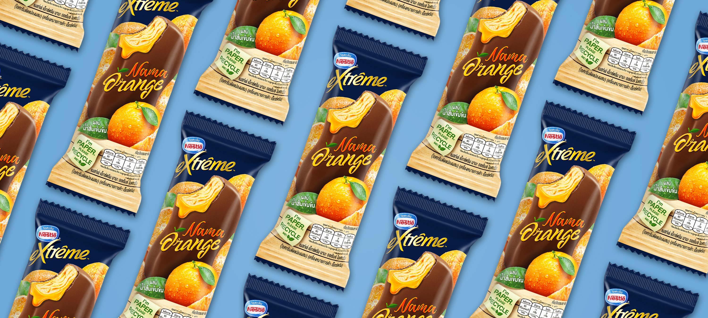 Nestle Ice Cream Orange Packaging Banner