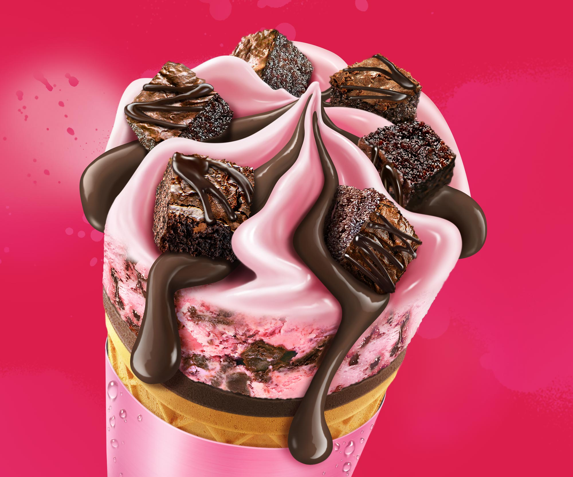 Nestle Ice Cream Strawberry Chocfudge Cone Illustration